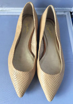 Seychelles Leather Snakeskin Embossed Pointed Toe Flats Tan  Size 6.5 Euc - $29.95