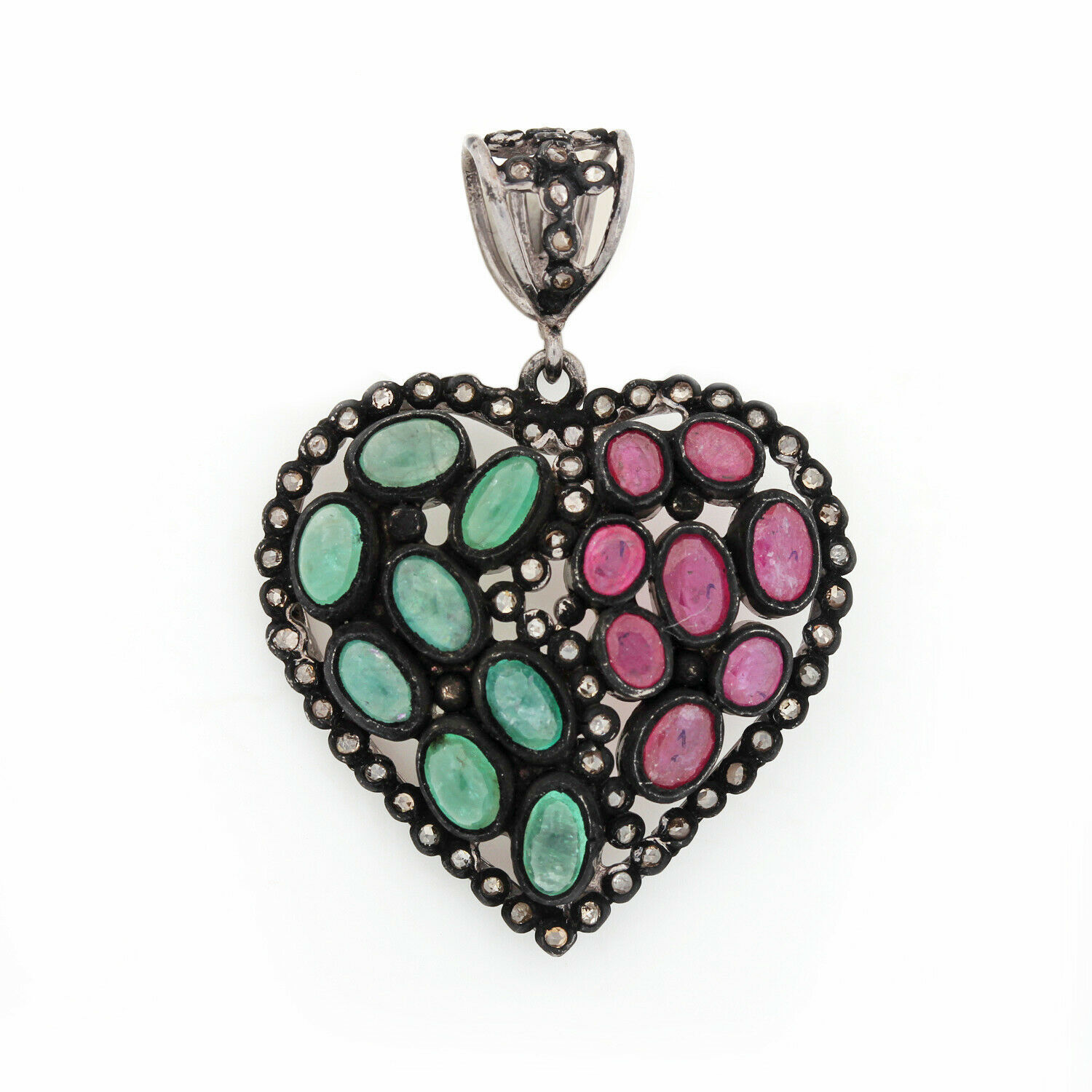 Primary image for 1.95Ct Ruby Gemstone Pendant Diamond Solid Pave 925 Sterling Silver Jewelry Fine