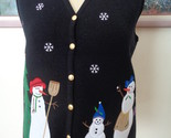 Croft & Barrow Womens Snowman Black Vest Christmas Tree Snowflakes Size Large
