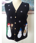 Croft & Barrow Womens Snowman Black Vest Christmas Tree Snowflakes Size ... - $14.99