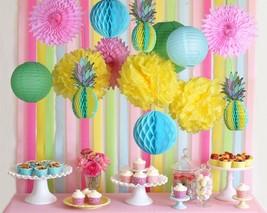 Paperjazz Tropical Honeycomb Pineapple Centerpiece Table  lantern fan De... - £12.06 GBP