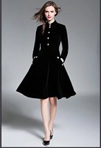 New autumn and winter vintage fashion self-cultivation velvet dress - $89.00