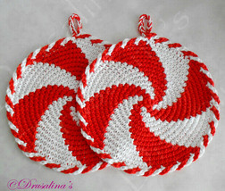 2 Crochet Pot Holders Peppermint Candy Cane Red White Potholders Star Br... - $24.99