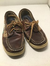 SPERRY Top-Sider Boat Shoe 917-4426 Deck Tie Loafer Brown Leather Tartan Plaid 6 - $5.90