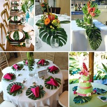 12pcs Artificial Tropical Palm Leaves Hawaiian Simulation Home Beach Par... - $3.98 CAD+