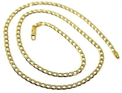 "SOLID 18K GOLD GOURMETTE CUBAN CURB LINKS CHAIN 4mm, 20"", STRONG BRIGHT NECKLACE"