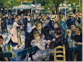 Stretched Canvas - Le Moulin de la Galette Painting Auguste Renoir Repro... - $105.99+
