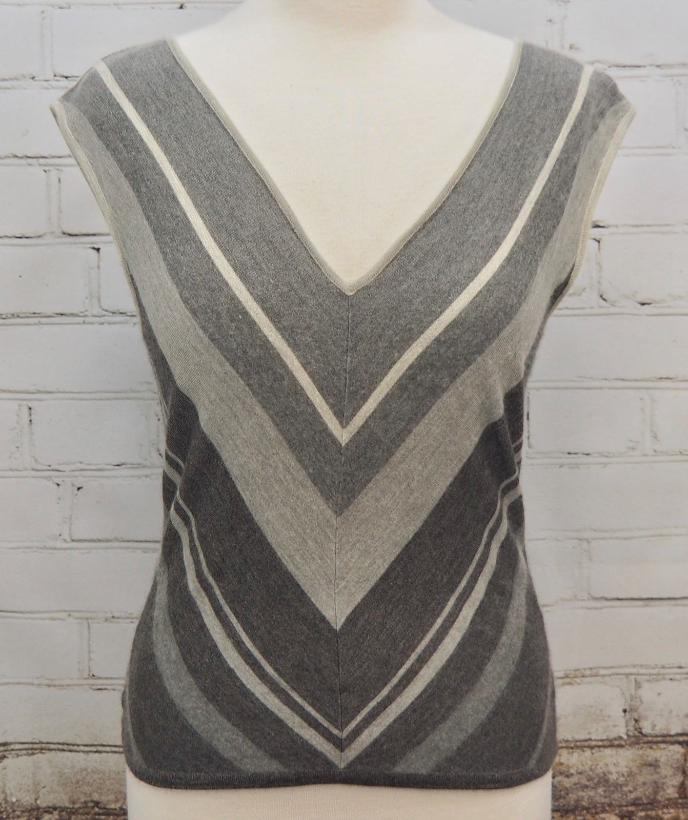 eb0fbbaacfe07f 57. 57. Previous. RALPH LAUREN Cashmere Silk Black Label Sleeveless Sweater Vest  Gray Stripes Med