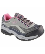 Skechers Work Shoes Gray Pink Women's Memory Foam Slip Resistant Steel T... - $56.99