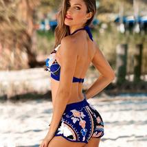 Womens Floral Halter Padded Bikini Set Summer Beach Holiday Swimwear Swimsuit US image 5