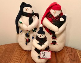 SNOWMAN FAMILY OF 4 INCLUDING BABY SNOWMAN ~ PLUSH ~ HANDCRAFTED WITH LOVE - $74.25