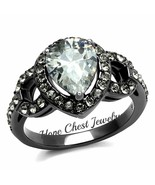 HCJ WOMEN'S GRAY STAINLESS STEEL PEAR CUT CUBIC ZIRCONIA ENGAGEMENT RING... - $17.54