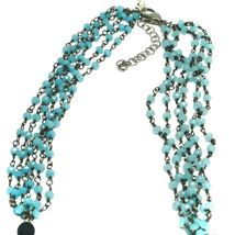 """NECKLACE BLACK, BLUE SPOTTED DROP OVAL MURANO GLASS 45cm 18"""", MADE IN ITALY image 3"""
