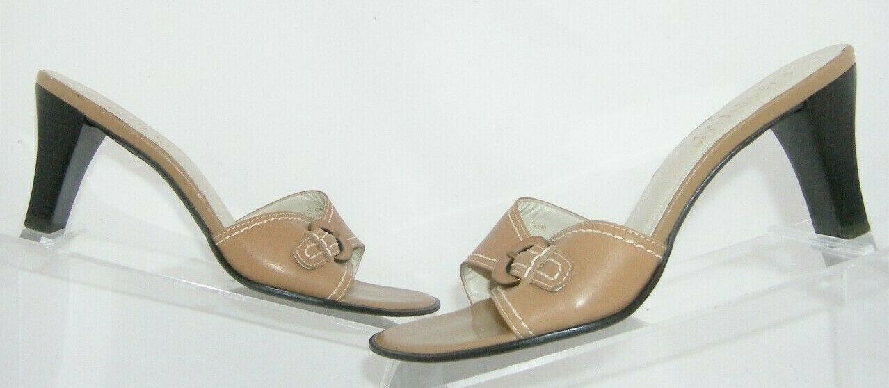 Franco Sarto brown leather buckle slip on slide mule sandal heels 7.5M 7627 image 2