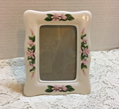 Vintage Porcelain Photo Frame Pink Flower Design Cottage Chic Free Standing - $7.99