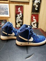 Royal Blue & White Forces 1 Mid Top - $64.35