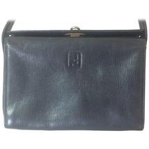 Vintage Fendi genuine navy leather square and triangle shape handbag wit... - $228.00