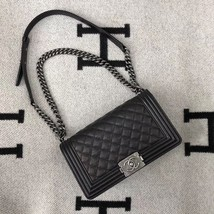AUTHENTIC CHANEL LE BOY BLACK QUILTED CAVIAR LEATHER MEDIUM FLAP BAG RHW - $4,599.99