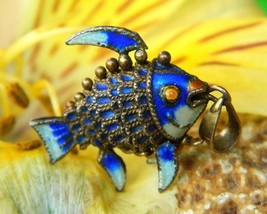 Vintage Fish Koi Articulated Chinese Charm Pendant Enamel Blue Gold   - $49.95