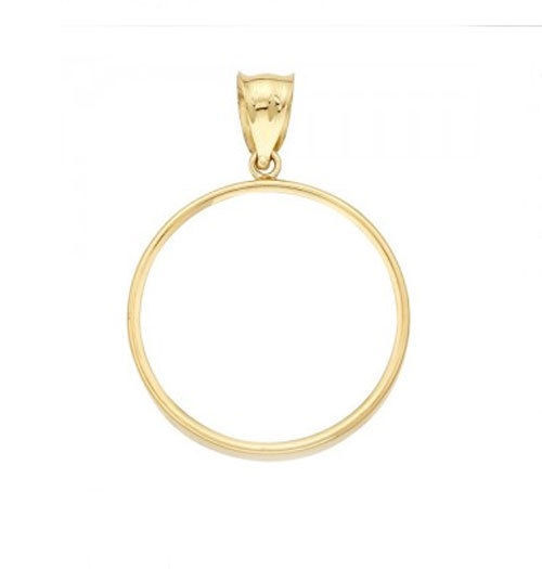 Genuine 14k Yellow Gold Polished Prong 1/20 oz Panda Coin Bezel