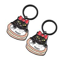 Set Of 2 Endearing Lovely Vintage Style Key Chain/Car Key Ring(Cake&Cat)