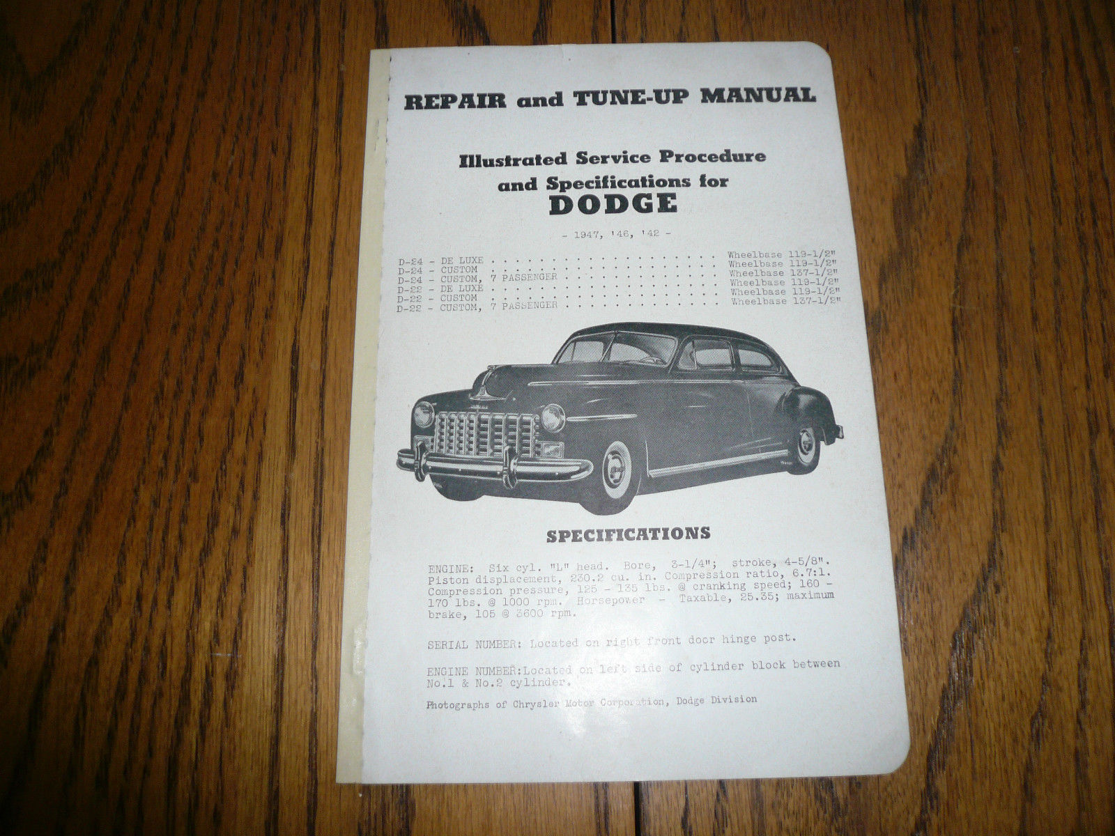 1947 1946 1942 Dodge Repair & Tune-Up Manual - Vintage