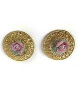 Vintage lot of 2 Brooch Pins Gold Tone with Ceramic Pink Roses mother je... - $15.83