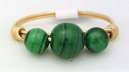Malachite Gemstone Bead Gold Wire Wrap Ring sz.8 - $10.08