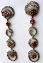 Victorian 4.13ct Rose Cut Diamond Ruby Dangling Lovely Wedding Earrings - $508.68