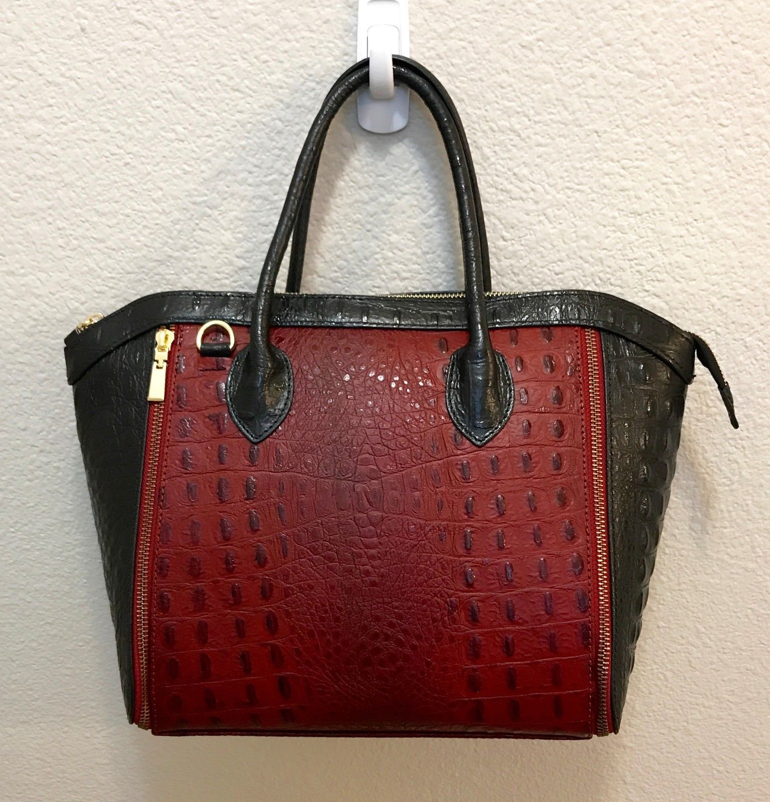 Crocodile Embossed Italian Leather Red Black Color Block  Handbag Satchel Purse