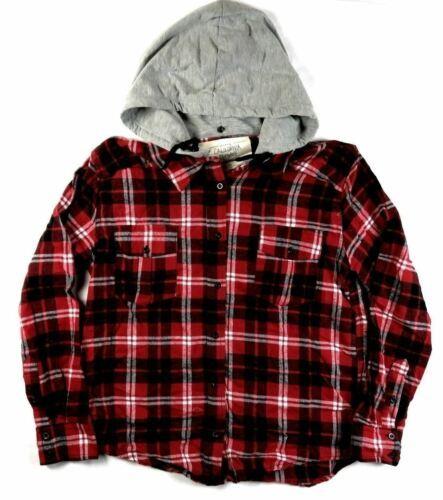 Small Women's California MoonRise Plaid Flannel Hoodie Shirt NEW