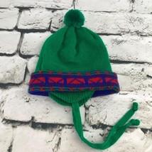 Toddler Sz 2-4Yrs Hat Green Pom-Pom Tassel Beanie Warm Winter Cap w/ Ear... - $9.89