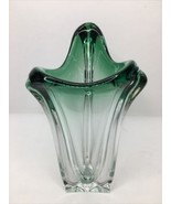 Val St Lambert Art Glass Vase Freeform MCM Ombré Emerald Green To Clear ... - $98.99