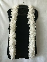 """Hand Knit Ruffle Boa Scarf White Iridescent Sequin Bling 80"""" Long  - $10.64"""