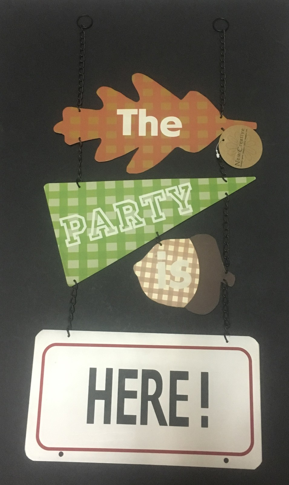 """THE PARTY IS HERE Outdoor Hanging Sign Metal 30"""" x 12"""""""