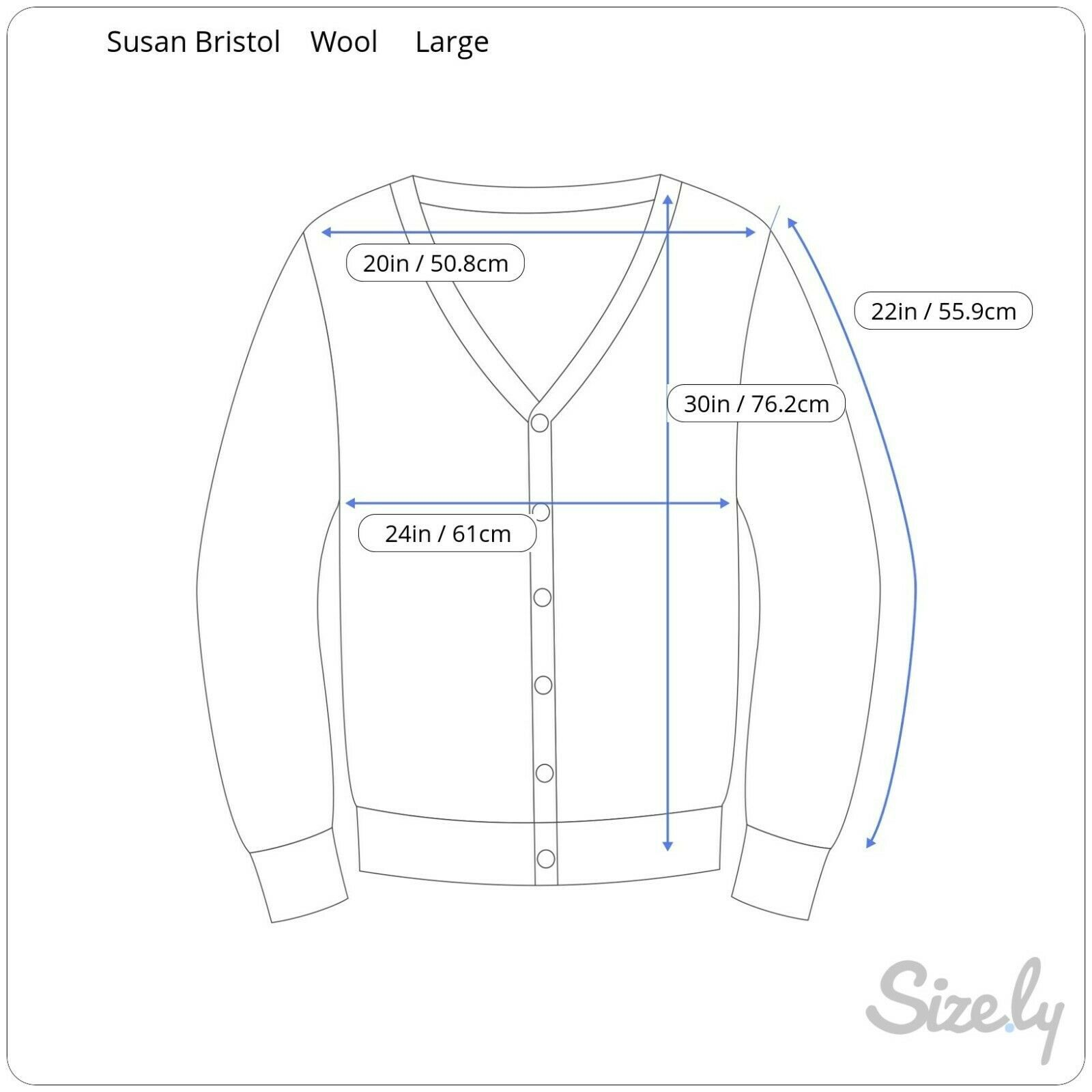 Susan Bristol Wool Cardigan Sweater Size Large L Button Front Hand Embroidered
