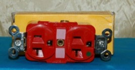 Hubbell HBL8300R Red Receptacle Straight Blade 20 Amp Duplex Hospital Grade image 1