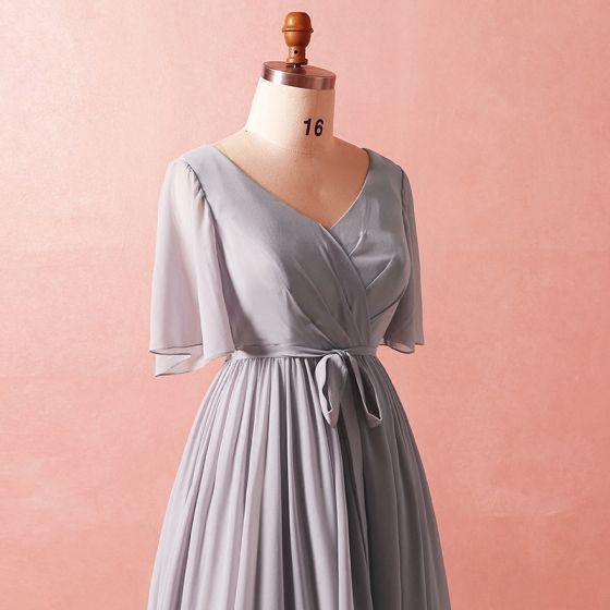 Modest / Simple Grey Plus Size A-Line / Princess Mother Of The Bride Dress