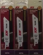 """Ace 2099281 4"""" x 18 TPI Recip Saw Blade Bi-Metal 3pcs. Swiss - $2.97"""