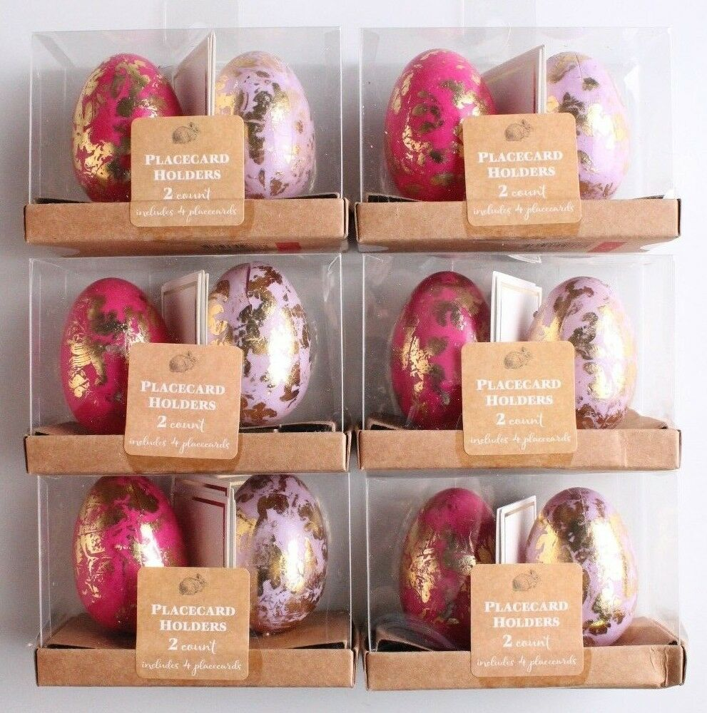 NEW Dozen Decorative Easter Table Pink/Purple Gold Foil Egg Place Card Holders