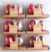 NEW Dozen Decorative Easter Table Pink/Purple Gold Foil Egg Place Card Holders image 1