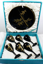 VTG black lacquer Bamboo design gold on black lacquer set of 6 goblets t... - $70.49