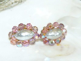 Pink Crystal and Faux Pearl Richelieu Earrings - $17.95