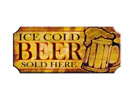 Wood Plaque Kolorcoat™ Bar Sign - Ice Cold Beer - $39.99