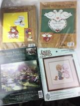 Cross Stitch Kit Lot of 4 Bucilla & Kinkade & Precious Moments Stitch An... - $18.69