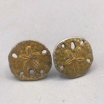 Vintage Gold Tone Sand Dollar Post Pierced Earrings - $8.90