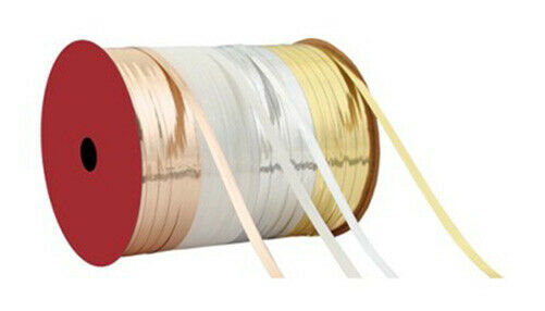 """Roll of Thin 3/16""""  Gold/White/Silver Flat Curling Wrapping Ribbon 70Ft NEW"""