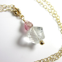 Spiral Cut Quartz and Carved Pink Tourmaline Necklace in 14k Gold Fill - $32.00