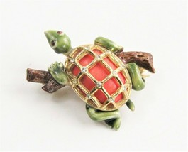 VINTAGE ESTATE Jewelry VINTAGE HAR SIGNED ENAMEL TURTLE FIGURAL BROOCH - $35.00