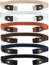 6 Pieces Unisex No Buckle Stretch Belt Adjustable No Buckle Waist Belt I... - $26.72